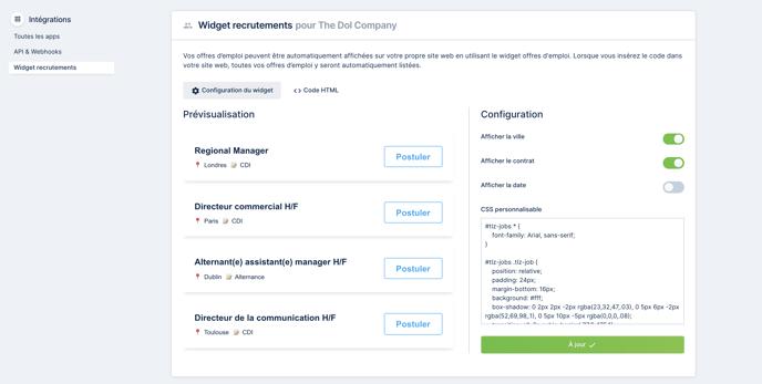 Intégrations - widget