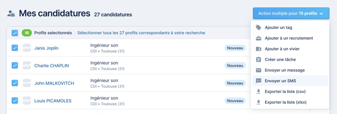 Mes candidatures - envoyer sms