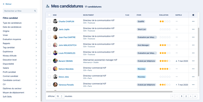 Mes candidatures - filtres