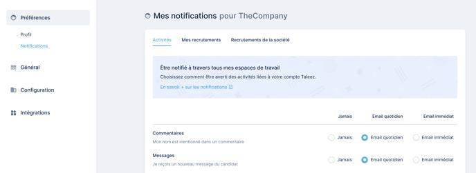 Réglages - notifications