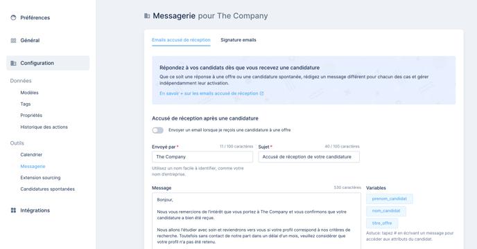 Réglages, messagerie - email accusé de réception