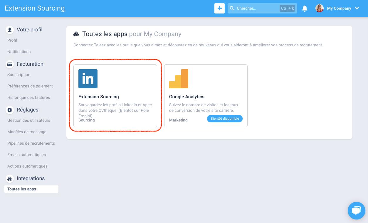 J3 - Utiliser l'extension Taleez Sourcing sur Linkedin 1