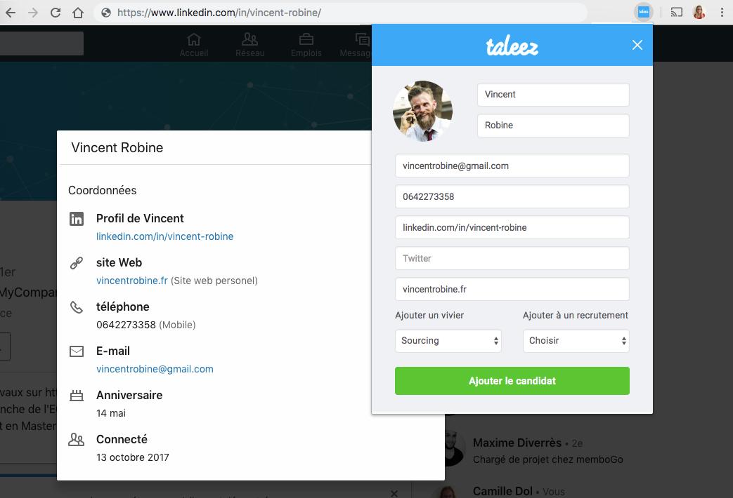 J3 - Utiliser l'extension Taleez Sourcing sur Linkedin 4